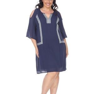 Plus Size Navy Short Sleeves Midi Dress PS863-02
